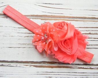 Coral Shabby Chic Headband - Baby Chiffon Headband - Shabby Chic Headband - Coral Chiffon Headband