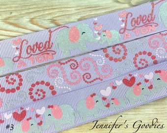 "LAVENDER Loved A Ton Ribbon, 7/8"", US Designer Ribbon, Glitter Ribbon, Elephant Ribbon, Dotted Swirls, Ribbon by The Yard, Ribbon for Bows"