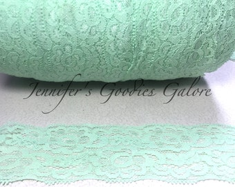 """Elastic Lace, 2"""", MINT, Lace by the yard, Stretch Lace, FOE Elastic, Lace Trim, Elastic Headband, Stretch Elastic, Headband Lace"""