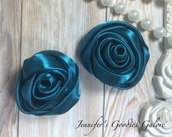 "Set of TWO Teal 2"" Satin Rosette Flower Heads, Rolled Roses Wholesale Mini Rosettes for Baby Headbands"