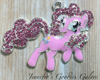 46*29MM, My Little Pony Inspired Rhinestone Pendant, Pinkie Pie, MLP Pendant, Chunky Necklace, Pony Pendant, My Little Pony Necklace