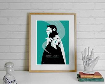Supernatural Print Supernatural Poster - Dean Winchester, Sam Winchester, A4 Illustration Print, Prints Illustrations, Minimalist, minimal