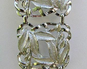 vintage 60s silver tone wide bracelet square link bracelet