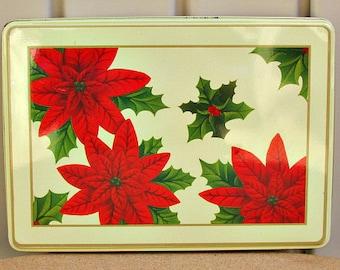 vintage 70s whitmans chocolate tin box  christmas poinsettia flower decoration candy tin