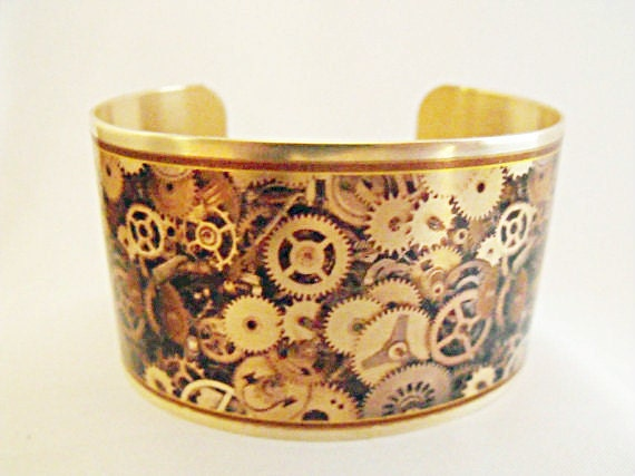 Cuff Bracelet Brass,  Steampunk Gears Image Mens Gift Womens Gift  Handmade