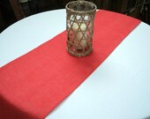 """Coral Burlap Table Runner Coral Wedding Decor 14"""" Wide and You Choose Your Length"""