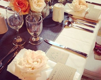 "Grey Burlap Table Runner 12"" or 14"" Wide Dark or Light Gray Burlap Runner Gray Wedding Decorations Grey Home Decor Custom Sizes Available"