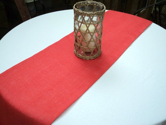 Coral Burlap Table Runner Coral Wedding Decor 12 Or