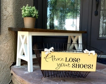 Shoe Basket Sign - Please Lose Your Shoes - Wood Subway Sign