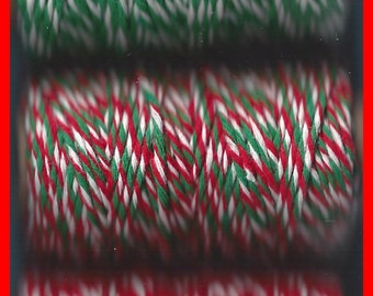 Christmas String Twine Butchers, Tag Rope, Twisted Red Green White 75 Yards
