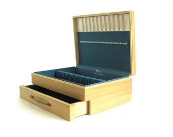 Blond Wood Flatware Box with Drawer, Wooden Silverware Storage Chest Empty Case