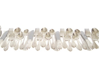 Plain Silverware Set Complete Service for 4, 6-pc Place Settings with Iced Tea Spoons Wm Rogers Pickwick 1930s Flatware Set Silverplate