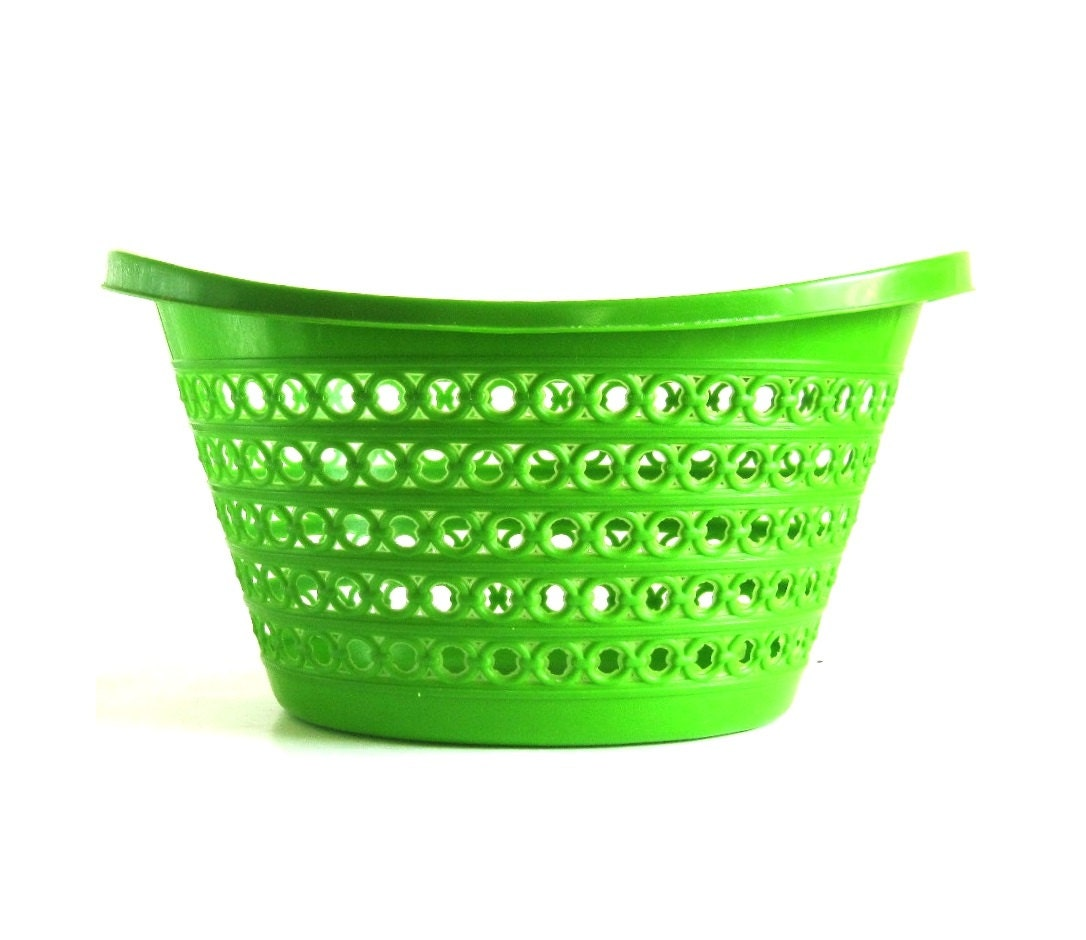 Plastic Clothes Basket 1970s Fesco Laundry Basket Hamper Lime