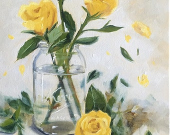 SALE Yellow Roses In Mason Jar Original Oil Painting Still Life, Canvas, Fine art, home decor