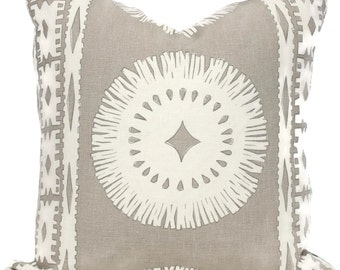 Oyster Bora Bora Pillow Covers 18x18, 20x20 or 22x22 Eurosham or Lumbar Pillow, Schumacher Mary McDonald Made to order pillow cover throw