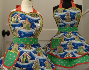 Christmas Aprons-MOTHER/DAUGHTER APRONS-Gingerbread Houses Mother/Daughter Flounce Aprons