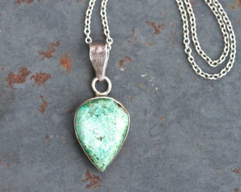 Turquoise Teardrop Necklace - Sterling Silver - Elegant and Natural Boho Jewelry