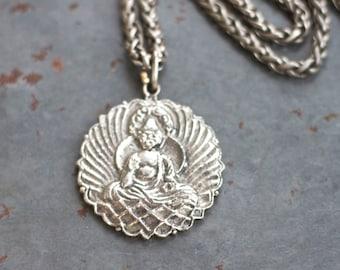 Buddha Necklace - Medallion Pendant on Chunky Chain