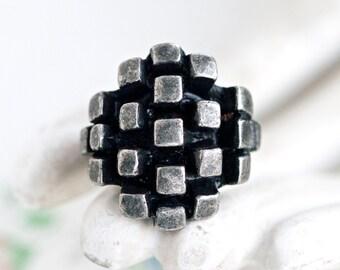 Cubist Pewter Ring - Adjustable