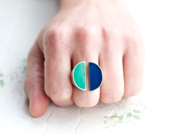 Modern Design Ring - Sterling Silver Half Moons with Blue and Green Enamel - Size 6.5 - Signed Israel