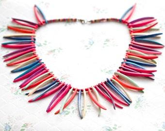 Colorful Boho Necklace - Pink Tiki Necklace