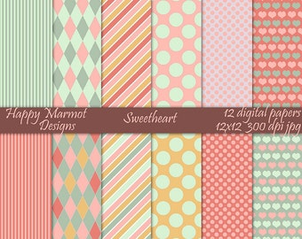 Scrapbook Paper Digital Printable Backgrounds Patterned Digital Photo Resources - 12 designs - 12x12 - 300 dpi - jpg - SWEETHEART