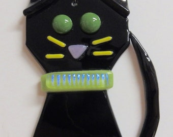 Cat Fused Glass Ornament