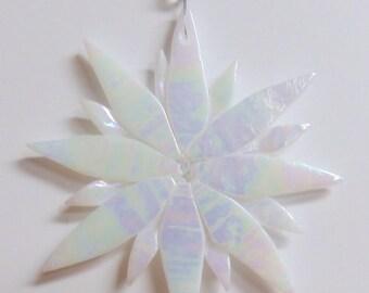 Star Burst Iridized Fused Glass Ornament