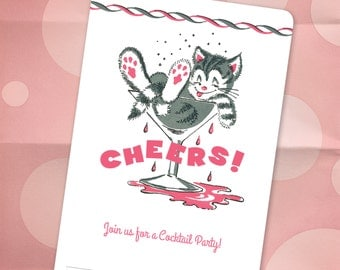 Tipsy Kitty Cat Cocktail Party / Holiday Party Invitations / New Years Party Invitations - Set of 10 - CHEERS Vintage Illustration