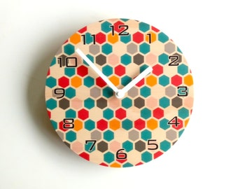 Objectify Colorful Honeycomb Wall Clock