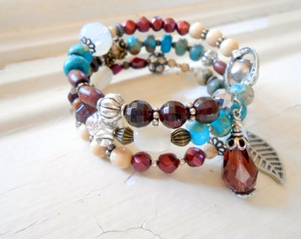Boho Beaded Wrap Bracelet, Stack, Turquoise, Garnet, Bohemian, Eclectic, Tribal, Vintage Repurposed, Upcycled, Recycled, Citrine, Pyrite