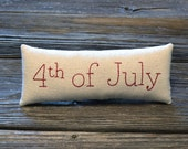 4th of July Decorative Pillow - Hand Embroidered Shelf Sitter - Independence Day Home Decor - Red White Blue Flags Accent Pillow - Americana
