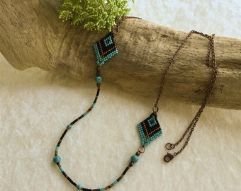 Black and Turquoise long layering necklace , Sundance inspired