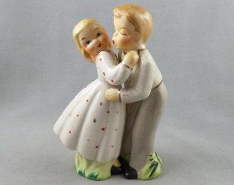 Kissing Couple Vintage Ceramic Large Salt and Pepper Shaker Set