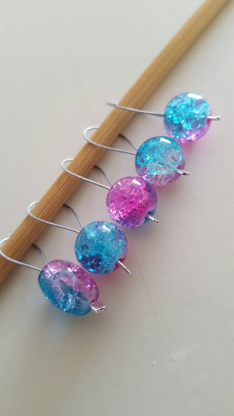 Knitting Markers Etsy : Pink and blue knitting stitch markers from evidentlymotley