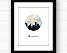 Houston skyline print | Houston, Texas wall art | Houston, Texas art | city skyline art | Houston map print | Texas decor | city map art