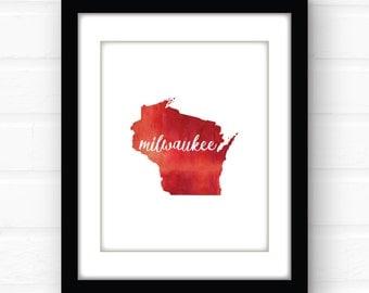 Milwaukee wall art | Milwaukee art print | Milwaukee home decor | Milwaukee poster | watercolor print | Wisconsin art | watercolor art