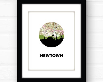 Newtown Connecticut art print | Connecticut map art | Connecticut print | New England home decor | Connecticut home decor | skyline art