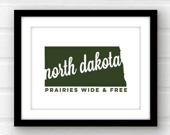 North Dakota art | Fargo poster | Bismarck, North Dakota print | Badlands North Dakota | state wall art | North Dakota home decor