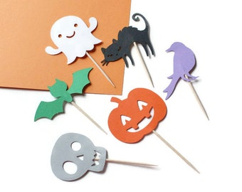 Halloween cupcake toppers or party picks - choose your dies and colors