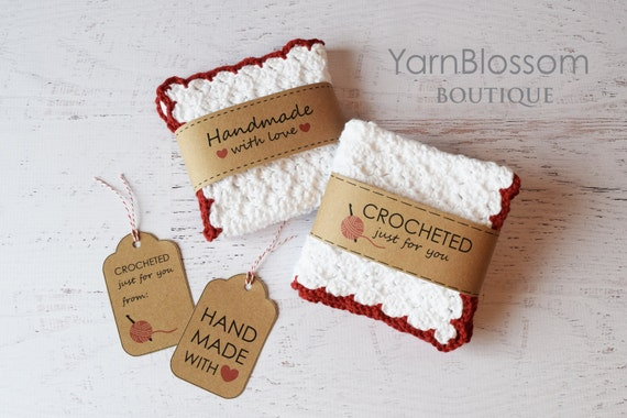 CROCHET PATTERN Country Kitchen with BONUS printable Gift Tags (Dishcloth, Strawberry, Blueberry, Raspberry, Cake, Tart)