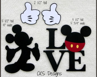 Die Cut Disney Mickey Mouse Silhouette, Love Title, and Thumbs Up Gloves Scrapbook Page Embellishments or Card Making Paper Crafts