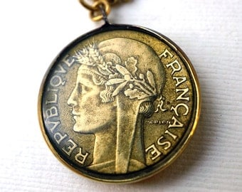 Vintage French Coin Pendant