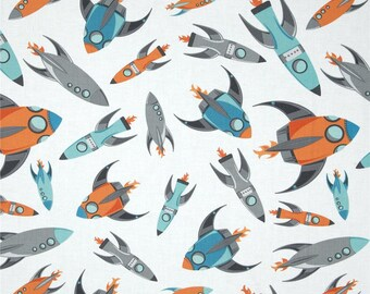Custom listing - 84002a Wilmington Prints Blast Off Rockets in White  color  -  3/4 yard