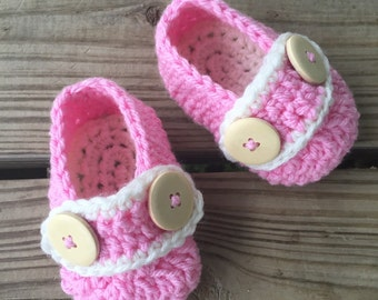 Baby Girl Crochet Wood Button Strap Shoes ~ 0-12 Mos ~ You Pick Colors ~ Super Cute For Summer!!