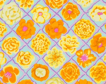LAMINATED cotton fabric (similar to oilcloth) by the yard - Flower Lattice pastel - WIDE BPA free - Makes a great wipeable tablecloth
