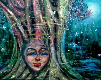 """Night Fairy Original, Acrylic painting on 40"""" x 30"""" stretched canvas; Large wall painting; wired painting; Fantasy painting, wall decor"""