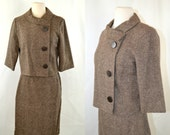 1960s Brown and Ivory Striped Skirt Jacket Suit by Beeline Fashions