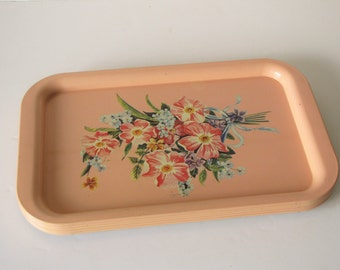 Vintage Peach TV Trays - Floral - set of 5