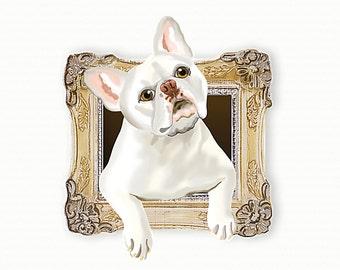 French Bulldog Tiny Art Print - White - Dog Art Print - Tiny Frenchie in a Frame